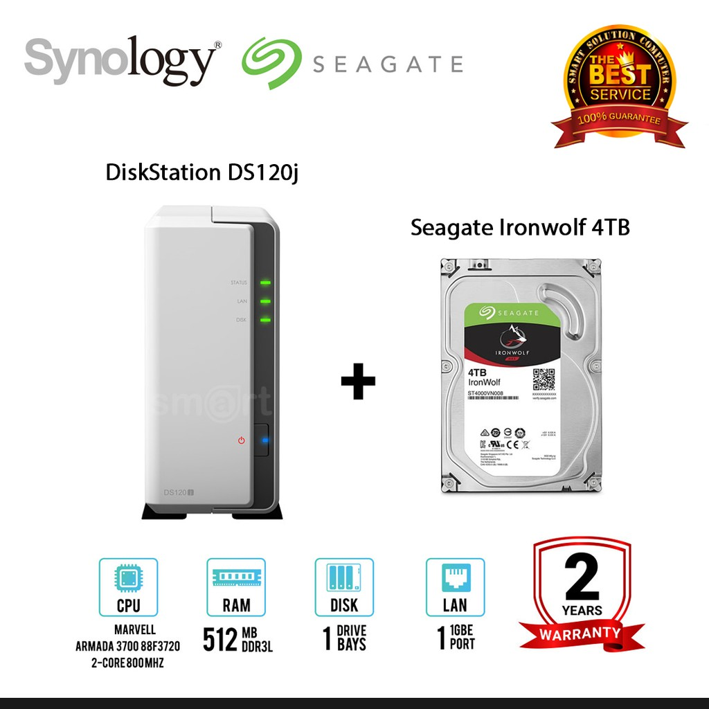 Synology DiskStation DS120j 1-Bay NAS + Seagate Ironwolf 4TB / 6TB / 8TB