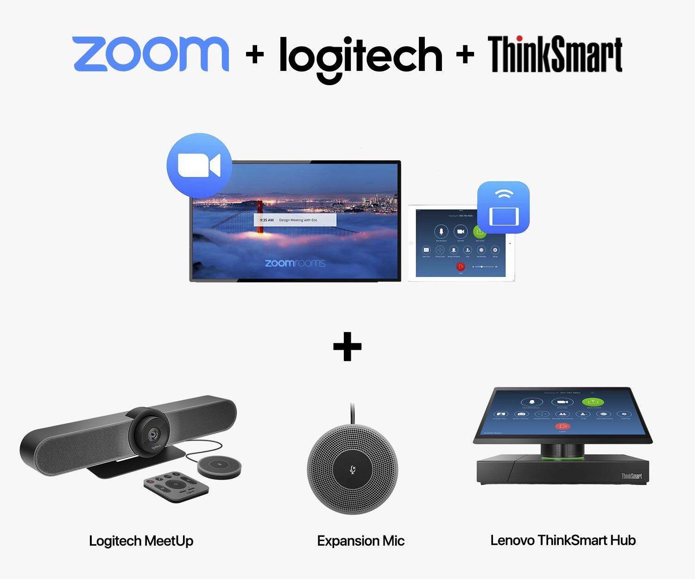SET C-2 : Logitech MeetUp + Expansion Microphone for MeetUp + Zoom Rooms + Lenovo ThinkSmart Hub