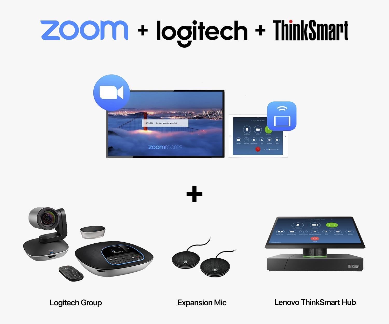 SET D-2 : Logitech Group + Expansion Microphone for Group + Zoom Rooms + Lenovo ThinkSmart Hub