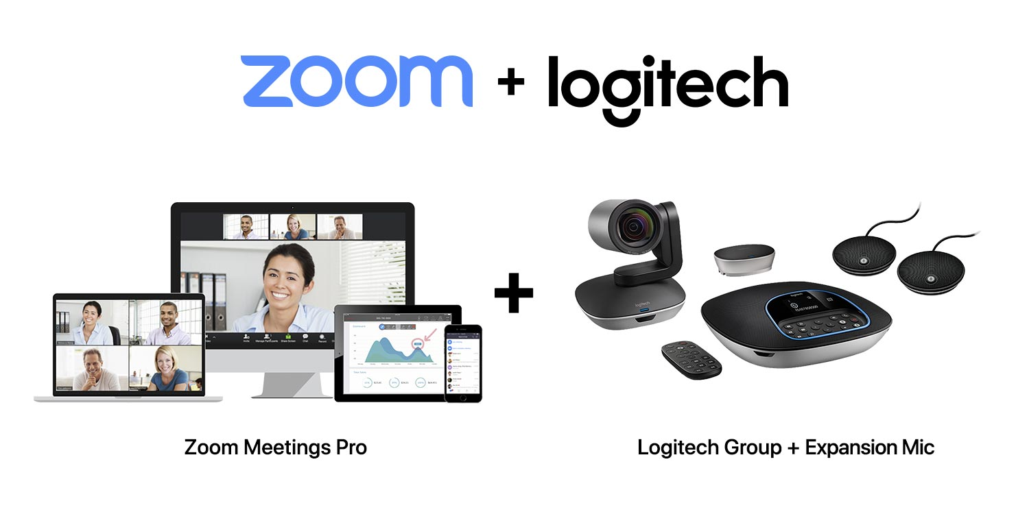 SET D-2 : Logitech Group + Expansion Microphone for Group + Zoom Meetings Pro