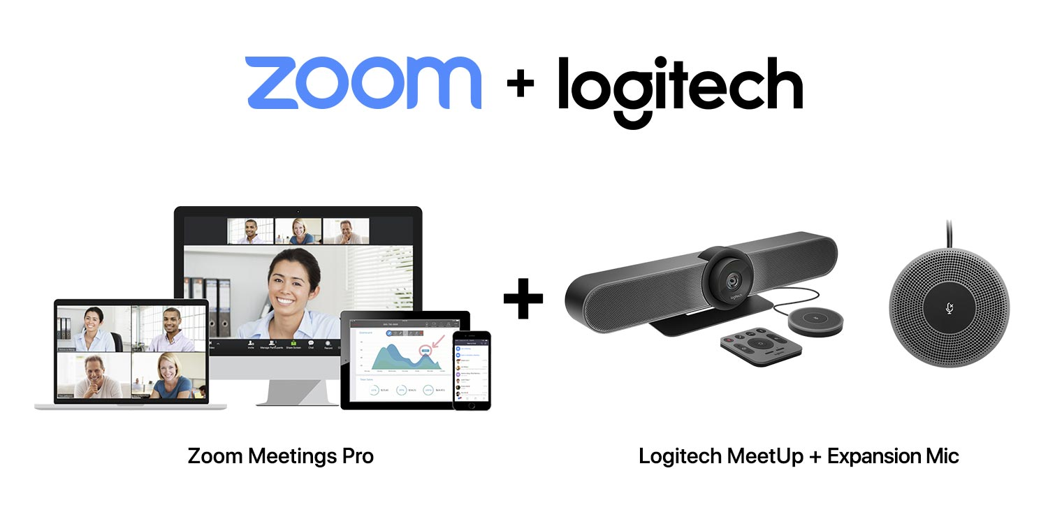 SET C-2 : Logitech MeetUp + Expansion Microphone for MeetUp + Zoom Meetings Pro